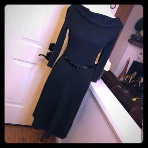 Silk Black Cowl Neck Ralph Lauren Dress With Belt